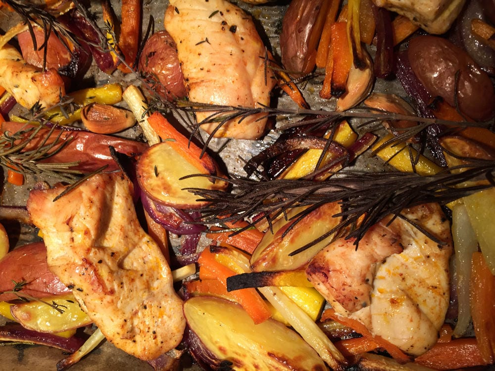 Hähnchen & Gemüse - aus dem Backofen